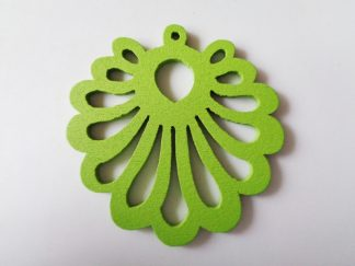 Pack of 5 Green Fan Wooden Pendants approx 47mm