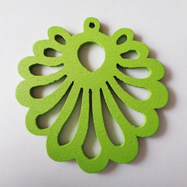 Pack of 5 Green Fan Wooden Pendants approx 47mm