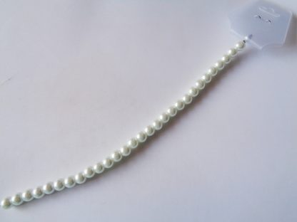 """8mm White Glass Pearls 8"""" Strand (approx 29 per string)"""