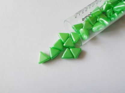 5gms Tube of 6mm x 6mm x 3mm Pastel Peridot Kheops Par Puca Beads