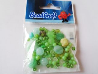 20gms Green Pressed Glass Bead Mix