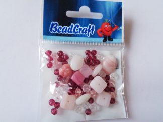 20gms Pink Pressed Glass Bead Mix