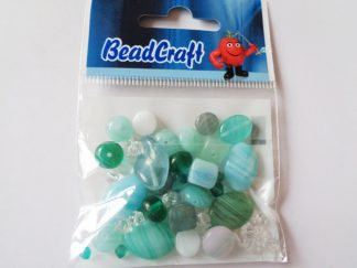 20gms Sea Green Pressed Glass Bead Mix