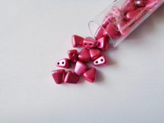 10g Tube of 6mm x 5mm Metalust Hot Pink Czech Glass Nib-Bit Beads