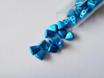 10g Tube of 6mm x 5mm Metalust Turquoise Czech Glass Nib-Bit Beads