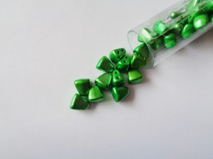 10g Tube of 6mm x 5mm Metalust Apple Green Czech Glass Nib-Bit Beads