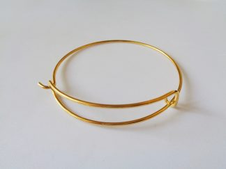 Gold Tone Adjustable Charm Bangle Blank With Loop and Hook