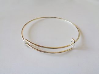 Silver Tone Adjustable Charm Bangle Blank With 2 Loops