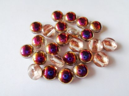 Pack of 25 8mm Crystal Sliperit 2-Hole Czech Glass Candy Beads