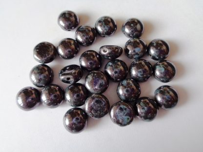 Pack of 25 8mm 2-Hole Czech Glass Candy Beads Jet Lilac Lustre Fully Coated