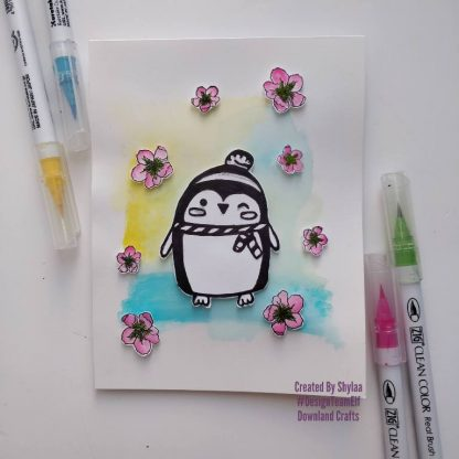 Pauric Penguin and Cherry Blossom Stamps Card Sample