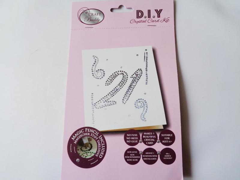21st Birthday DIY Crystal Card Kit Downland Crafts