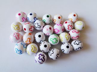 Pack of 25 10mm Acrylic Mixed Colour Round Cross Beads