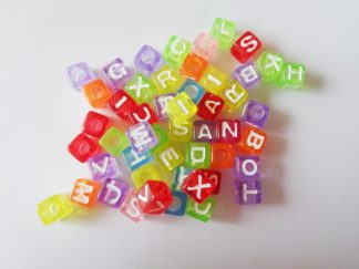 6.5mm Transparent With White Cube Mixed Alphabet Beads