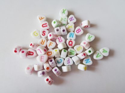 6.8mm x 6.5mm White With Colour Flat Heart Mixed Alphabet Beads