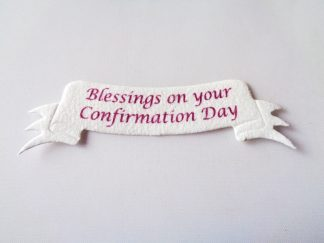 Pack of 5 First Confirmation Ribbon Word Banner Die Cuts