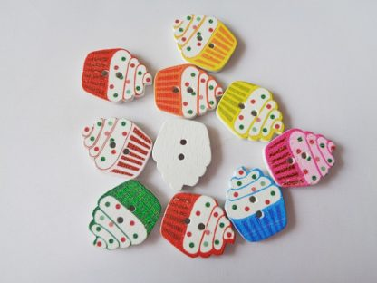 Cupcakes Wooden Buttons