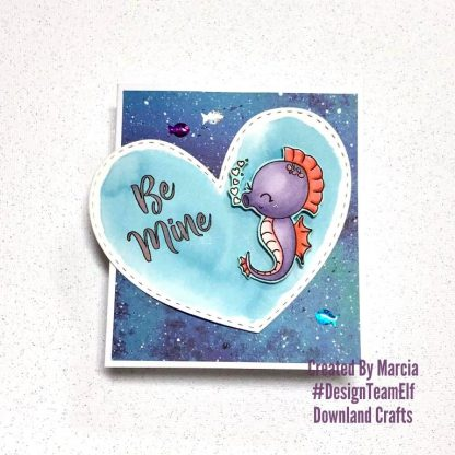 Seahorse Stamp Set A7 Clear Photopolymer Card Sample By Marcia