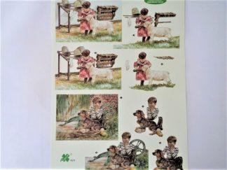 Farm Children Decoupage Sheet