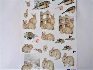Winter Bunnies Decoupage Sheet