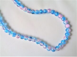 8mm Crackle Beads - Pink/Aqua